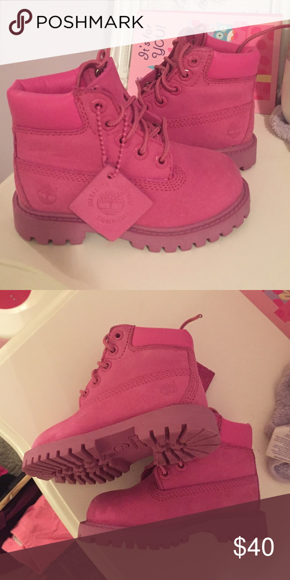 PINK Toddler Timberland Boots LIGHTLY worn couple of scuffs