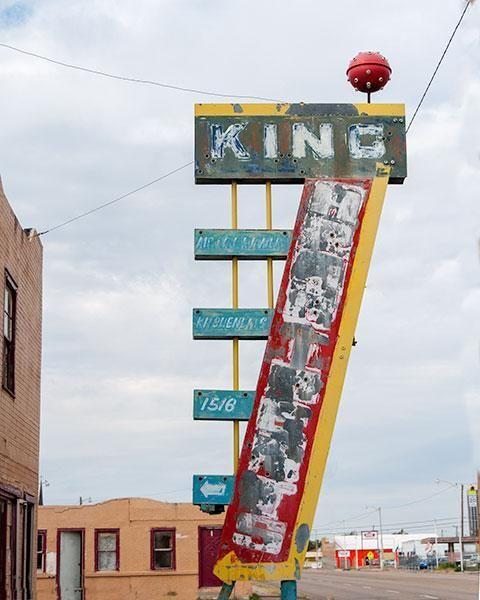 King Hotel, Amarillo, Texas - Vintage - Rusted - Neon Signage