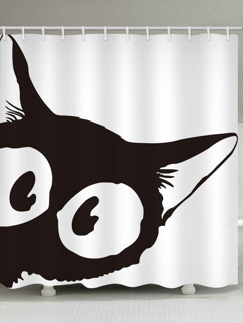 Cat Peeping Print Waterproof Shower Curtain Black W59 Inch L71