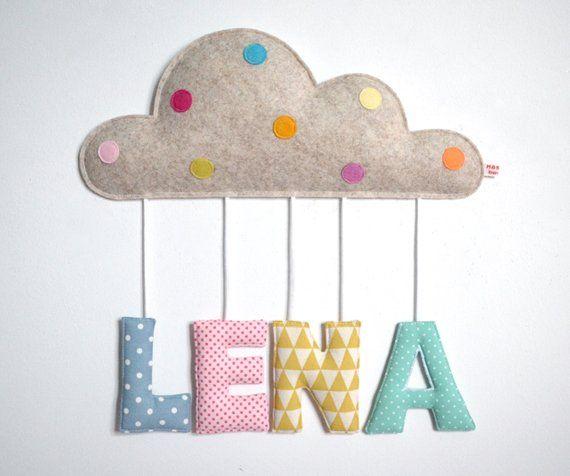 Namensschild Wolke Ab 49 F 3 Buchstaben Kinder Stoff