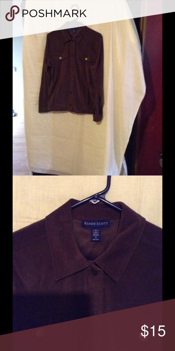Karen Scott Jacket Button down, long sleeve, and brown. Karen Scott Jackets & Coats Blazers