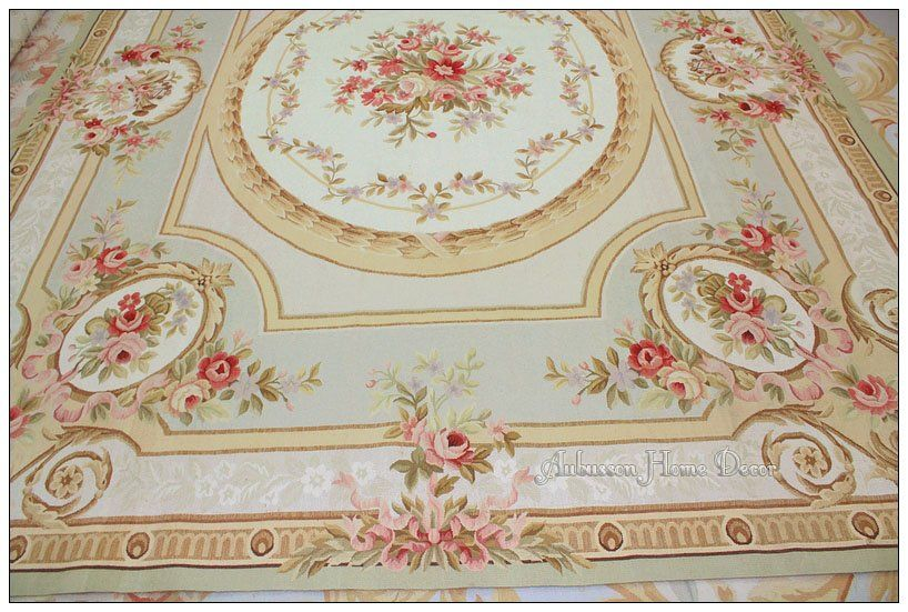 8x10 Pastel Blue Ivory Pink Aubusson Area Rug Free Ship