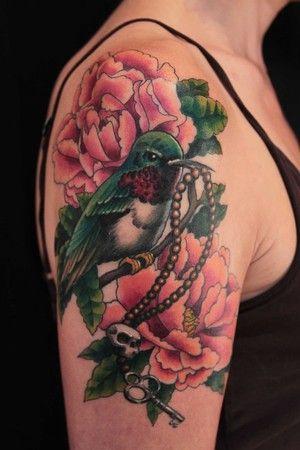 Pink Flowers n Hummingbird Tattoo On Upper Arm