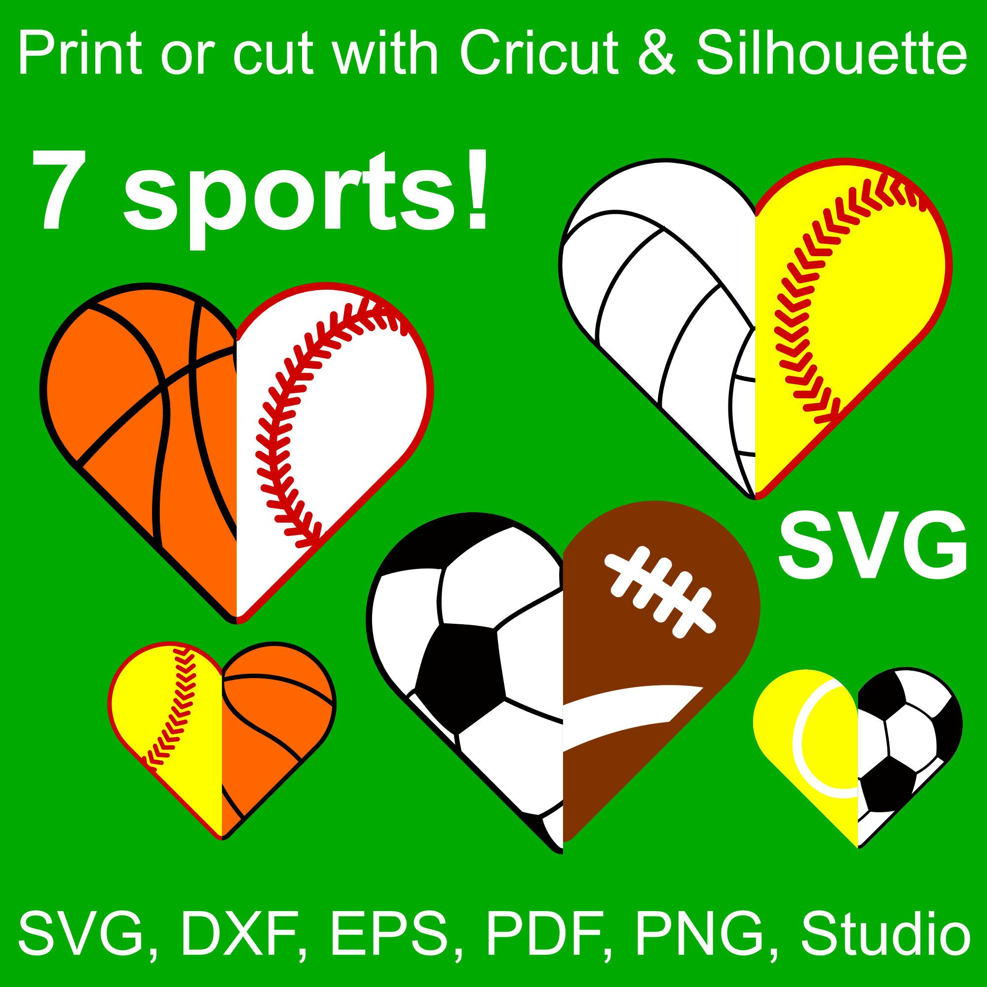 Svg Sports Half Hearts To Combine In Any Way You Want For Cricut Silhouette Or Printing Cricut Sports Svg