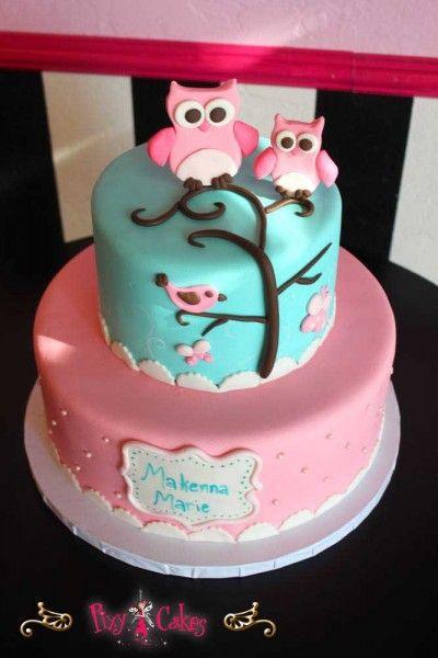 Birthday Cake Girl Pink Blue 2 Tiers Owls Fondany Figurines