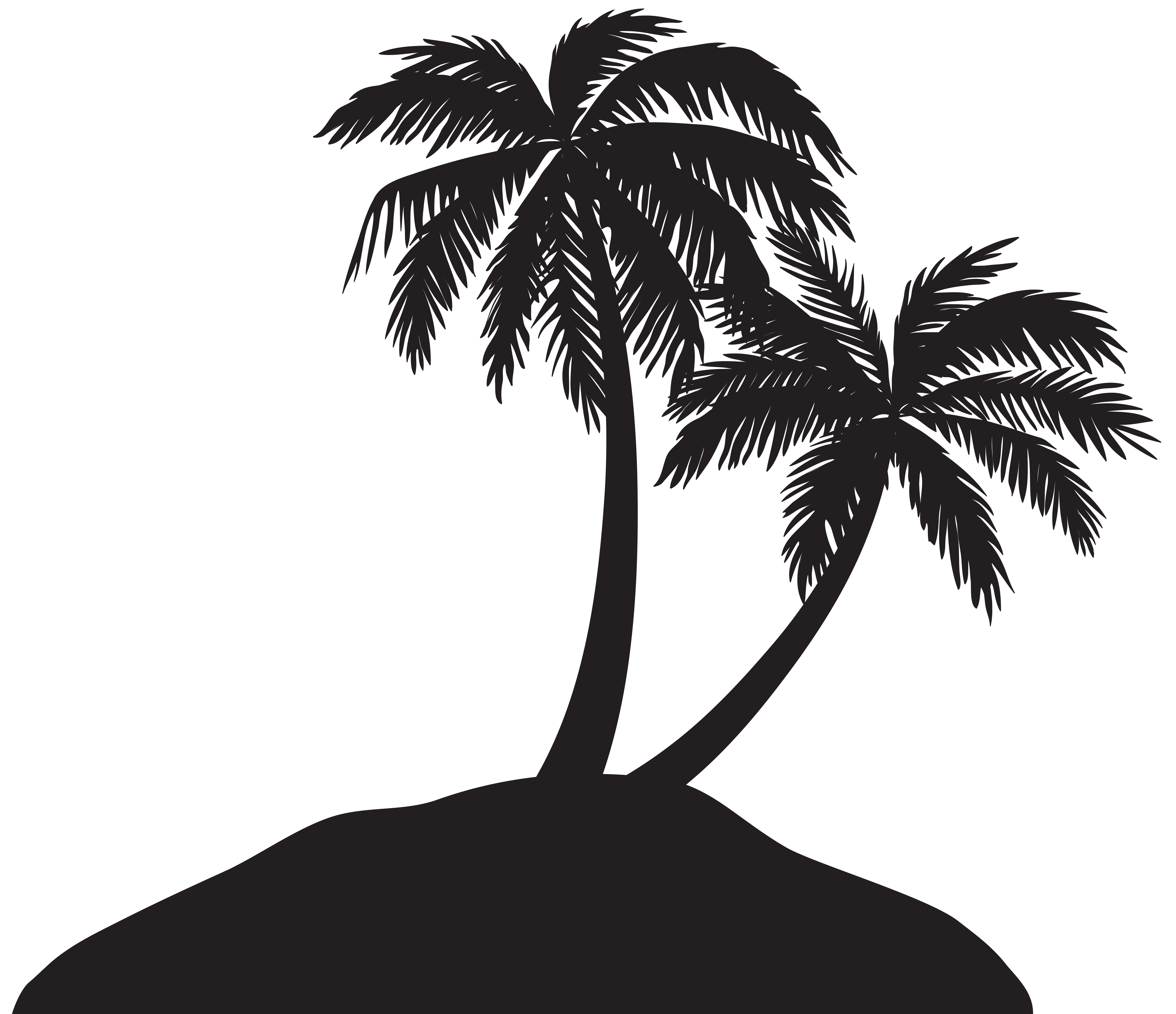Island with Palm Trees Silhouette PNG Clip Art Image