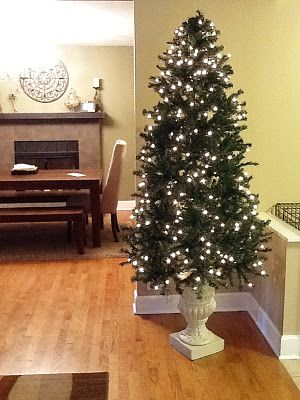 Christmas Tree Stand Made From Cement Planter Urn Makes Taller