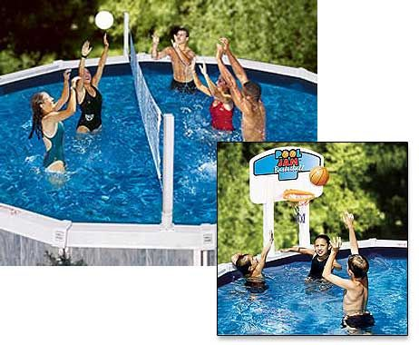 Pool Jam Volleyball And Basketball Combo For Above Ground Pool 87 95 Swimming Pool Games Above Ground Swimming Pools Pool