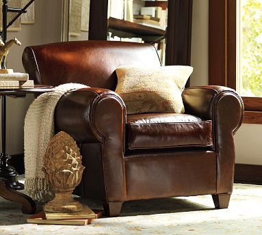 Perfect Pottery Barn Manhattan Club Chair In U0027whiskeyu0027, With An Ottoman  Perfect
