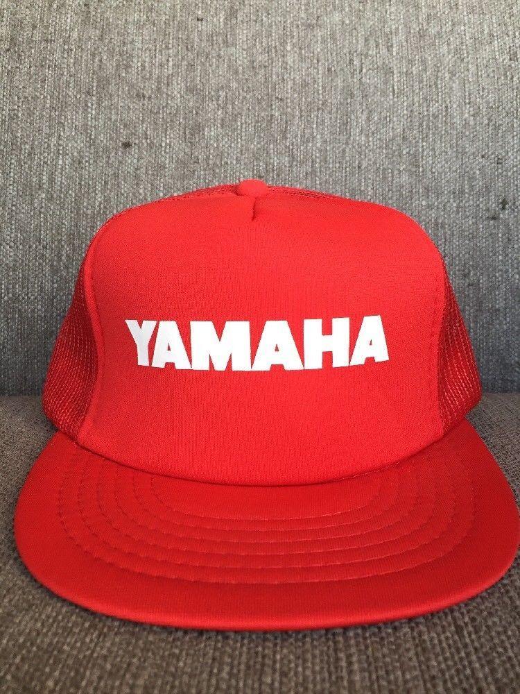 3e033ac518e67 Vtg Yamaha Red Mesh Snap Back Hat 1980's Motorcycle Racing Motors Motocross  | eBay