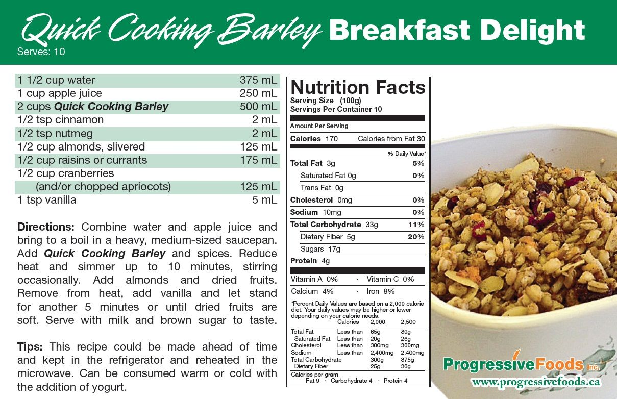Progressive Foods Inc Edmonton Quick Cooking Barley