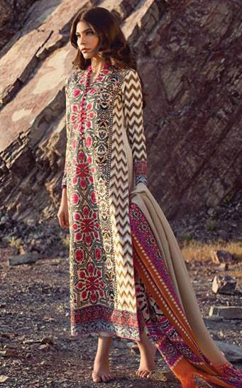 f5beef7f1 Buy Beige Marina Salwar Kameez by Sana Safinaz Winter Collection ...