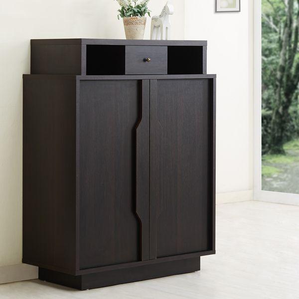 Furniture of America Arthurie Espresso Enclosed 5-Shelf Shoe Cabinet ...