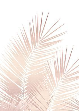 'Rose Gold Palm Leaves 1' Poster Print by Anita's
