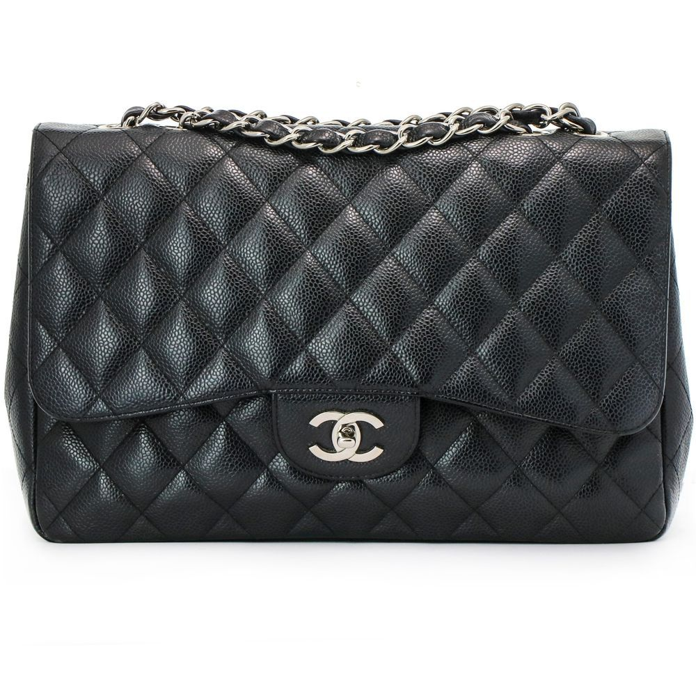 47974ccd3294d2 Chanel Jumbo Black Caviar Classic Flap Bag Silver Chain Strap #Chanel  #ShoulderBag