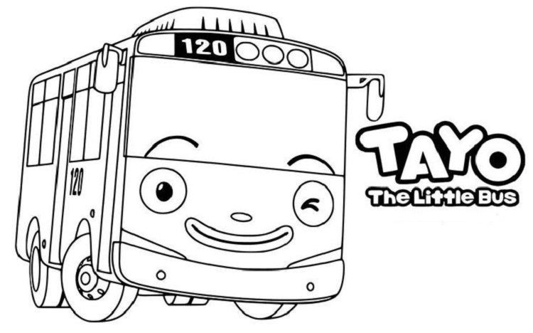 Tayo Group Coloring Page Tayo The Little Bus Little Bus