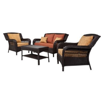 Patio Furniture Target Madaga 4 Piece Wicker Conversation Set Opens In A New Window