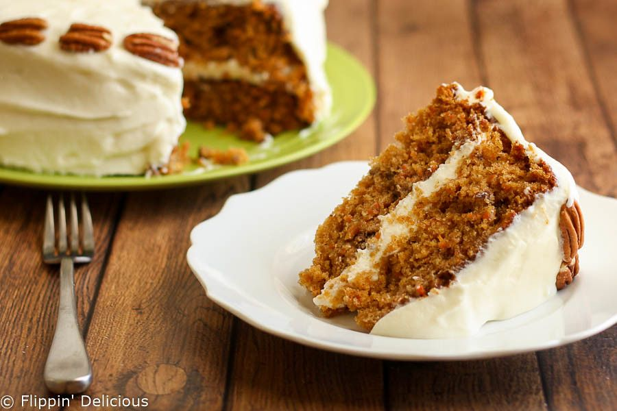 Gluten free carrot cake with whipped cream cheese