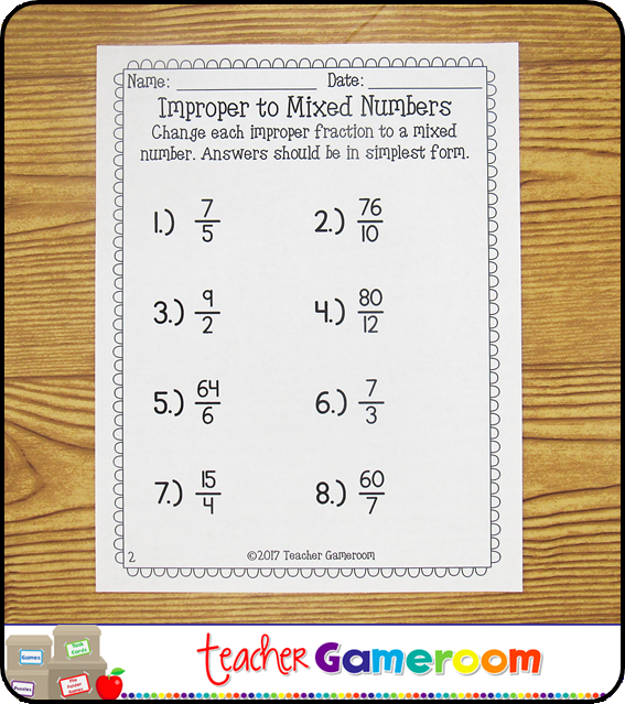Improper To Mixed Numbers Worksheet Number Worksheets Elementary School Math Activities Ccss Math