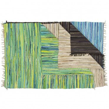 Chindi 4x6 Area Rag Rug - Colorful Natural Woven Recycled Fabric