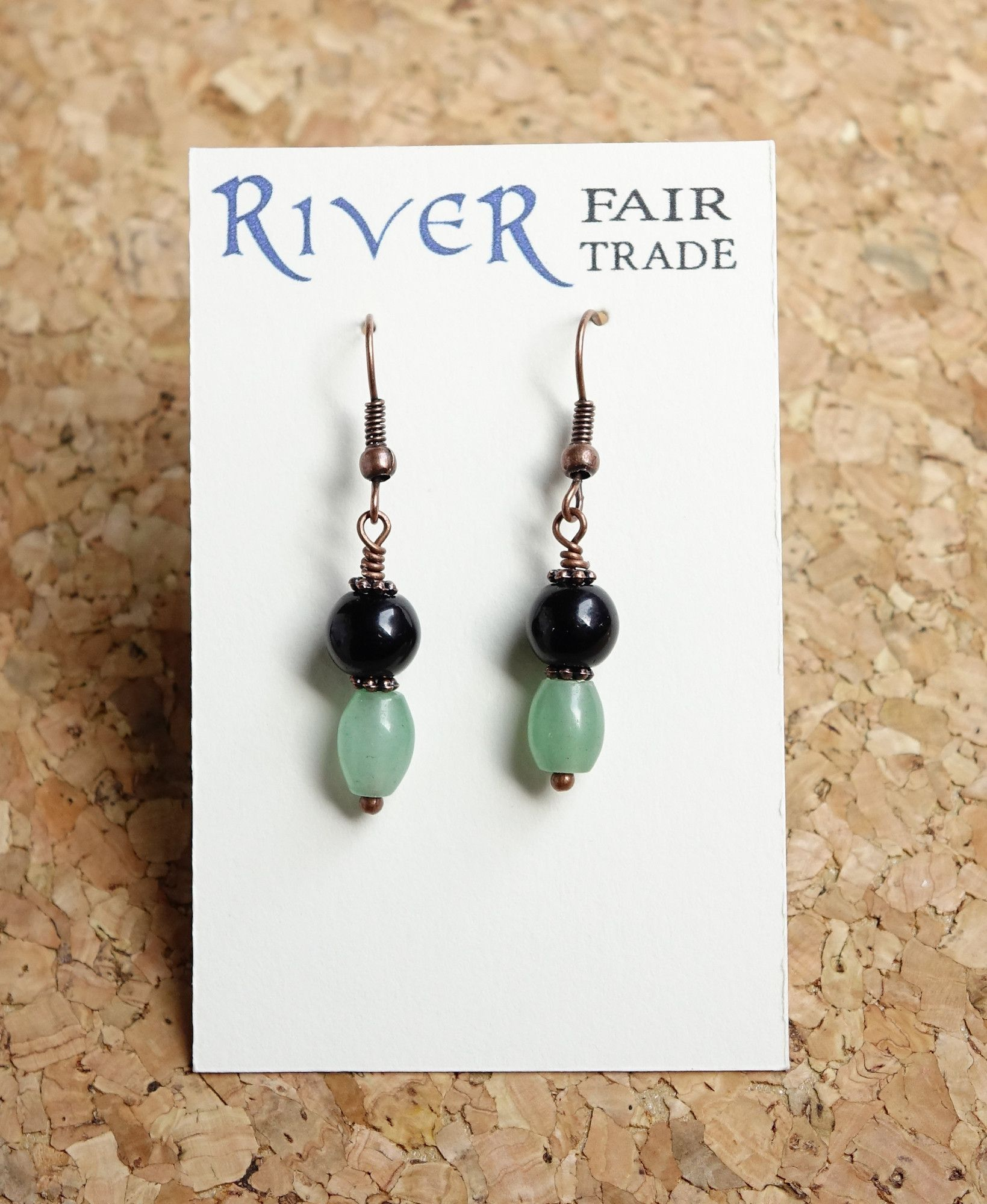 Aventurine and Black Obsidian Earrings
