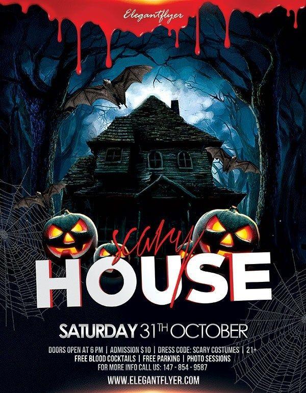 Free Haunted House Flyer Templates di 2020 (Dengan gambar)