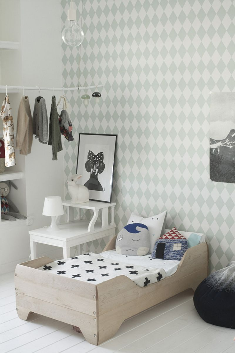 love the mint wallpaper and fun cushions on the bed 10 lovely