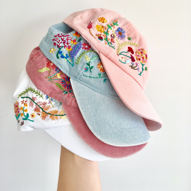 Hand Embroidered Flower Ladies Baseball Cap Embroidered Hats Hat Embroidery Embroidery On Clothes