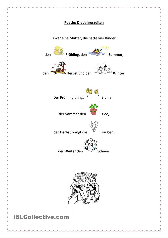 Die Jahreszeiten | Pinterest | Jahreszeiten, Lieder und Gedicht