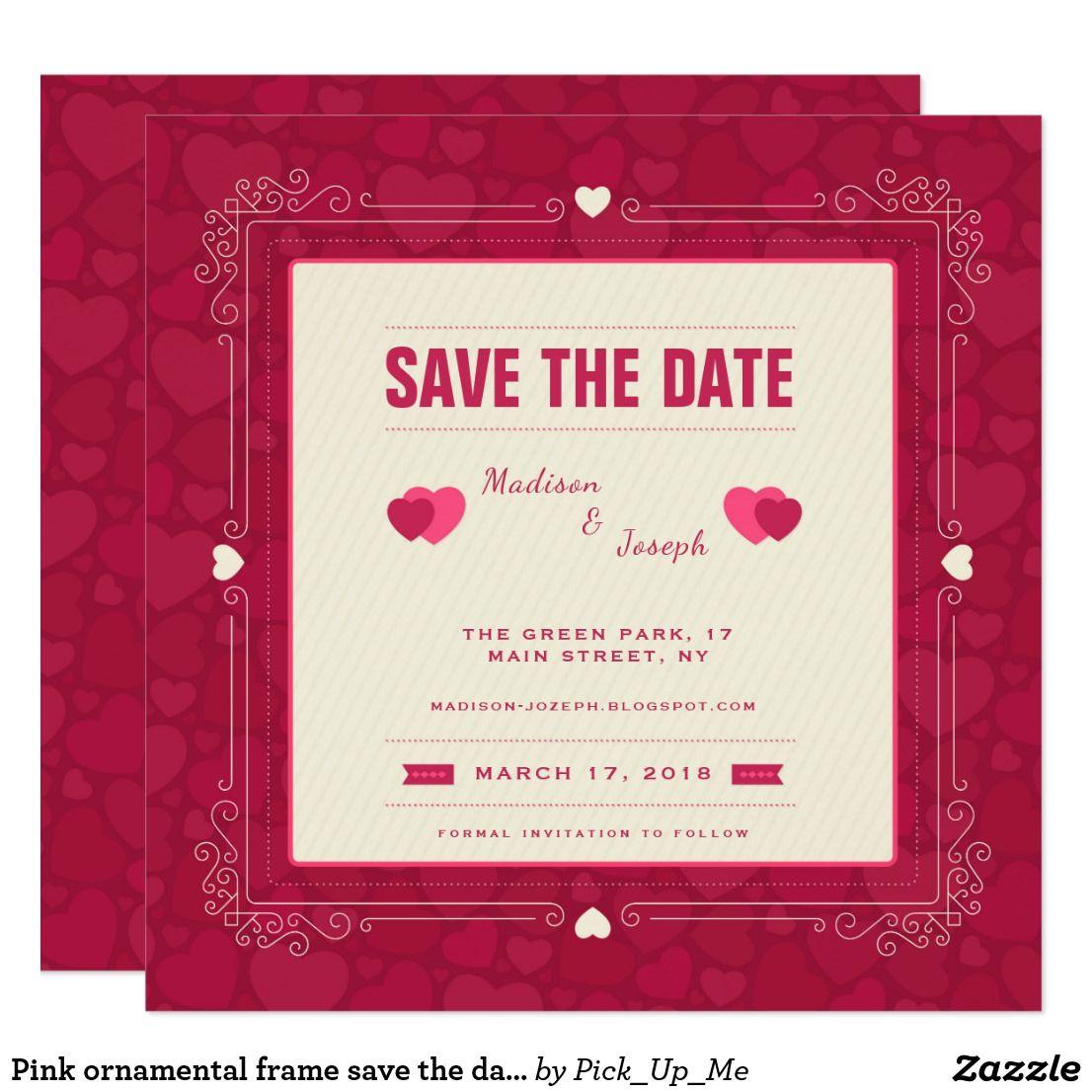 Pink ornamental frame save the date invitation
