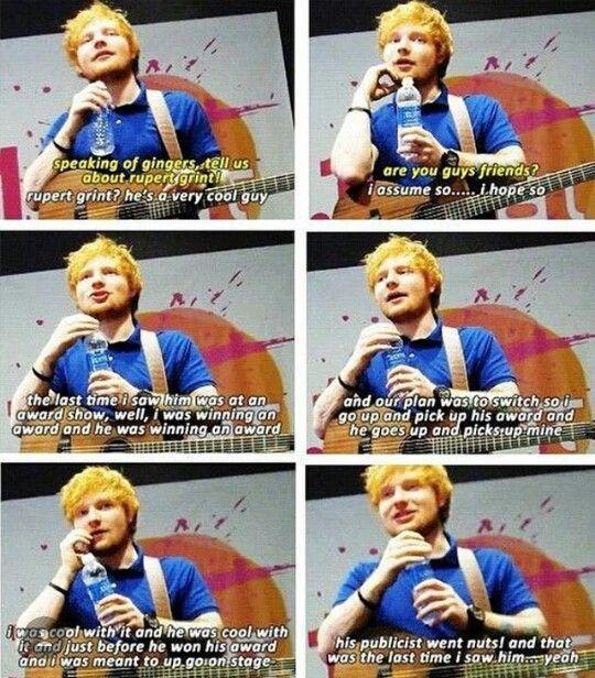 Ed Sheeran On The Last Time He Saw Rupert Grint Ed Sheeran Music Ed Rupert Grint