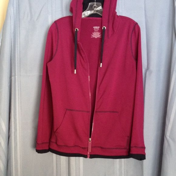 Lizwear cotton/poly knit jacket  Sporty active wear jacket. Cranberry color with navy blue trim. Lizwear Jackets & Coats