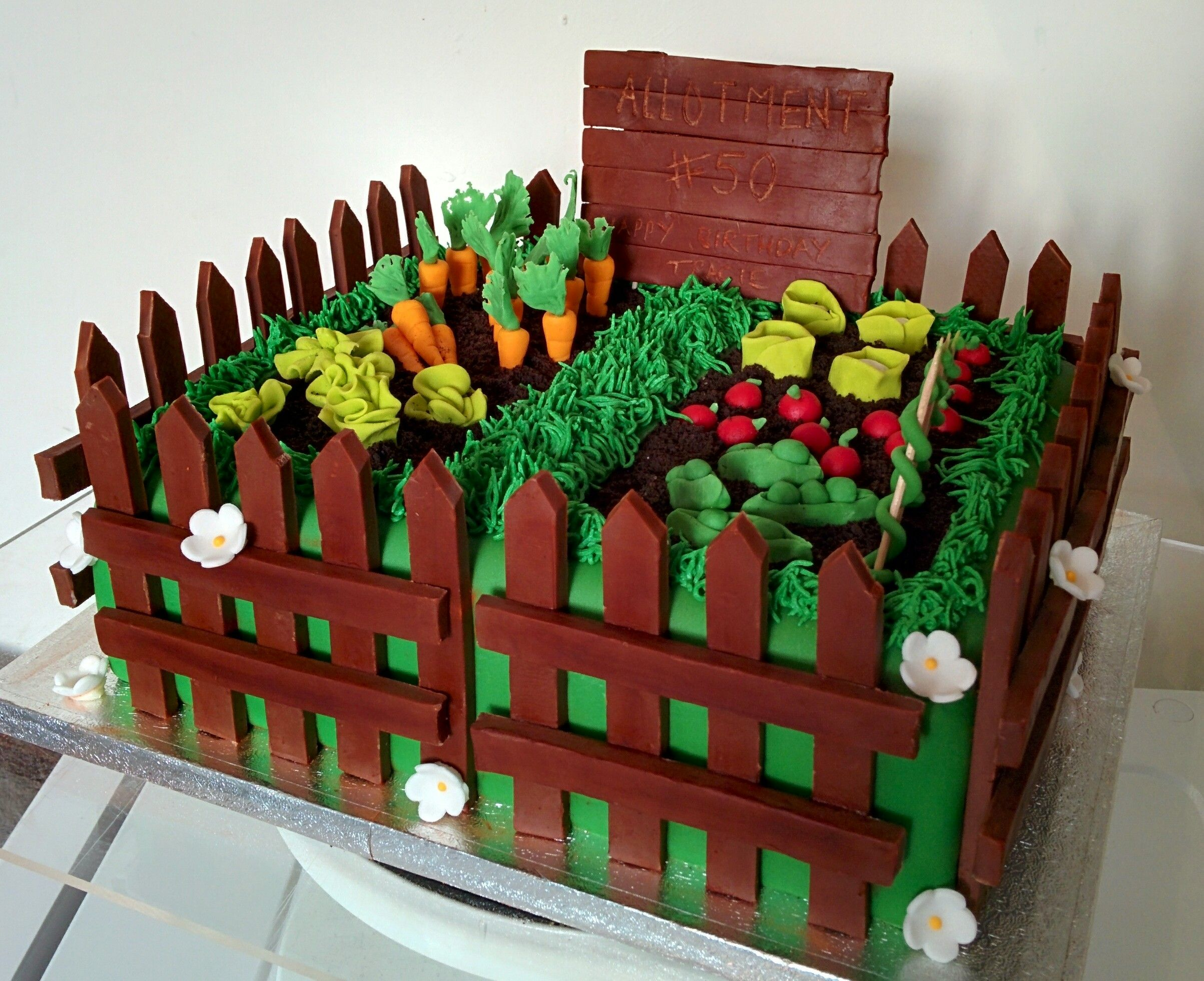 Garden Vegetable Patch Cake Food 80 Birthday Cake