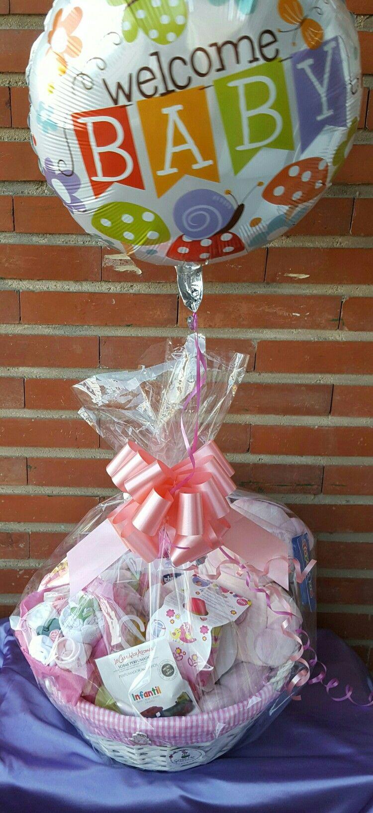 Cesta Bebé Con Globo De Bienvenida Personalizado Para El Recién Nacido Regalamos Globo En Cestas A Partir De 60 Infantil Children Diaper Cake