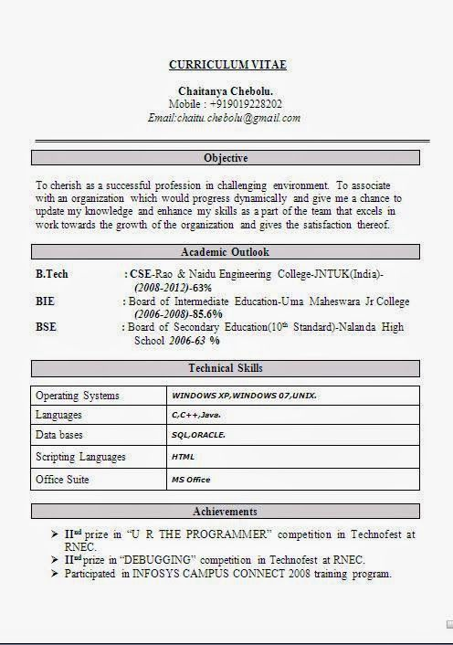 Curriculum Vitae Exemplo Sample Template Example Of Excellent
