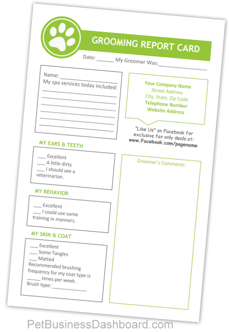 Pet Grooming Report Card Printables And Editable Templates For Your Dog Grooming Business Grooming Customers Puppy Grooming Dog Grooming Business Dog Grooming