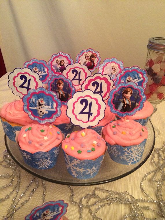 Frozen birthday cupcake toppers printable DYI jpg cake winter Frost