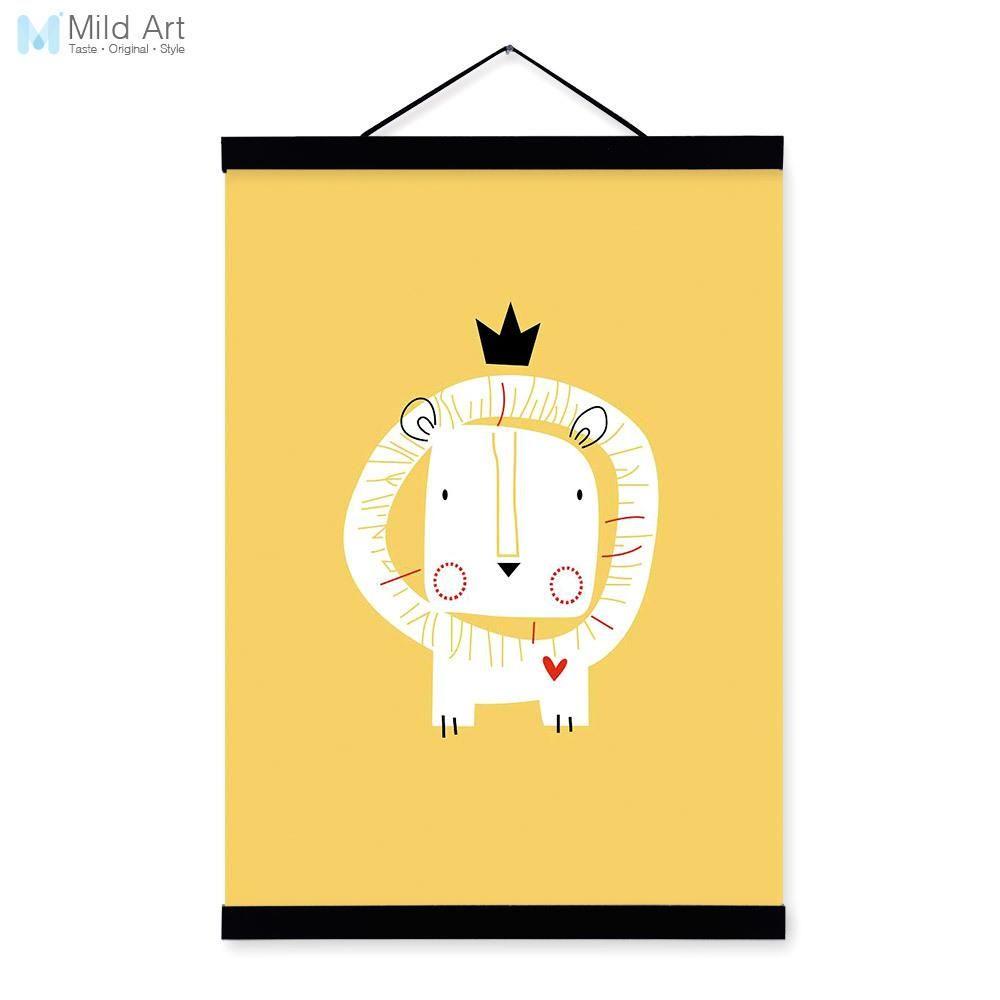 Modern Nordic Kawaii Cartoon Animals Lion A4 Wooden Framed Canvas ...