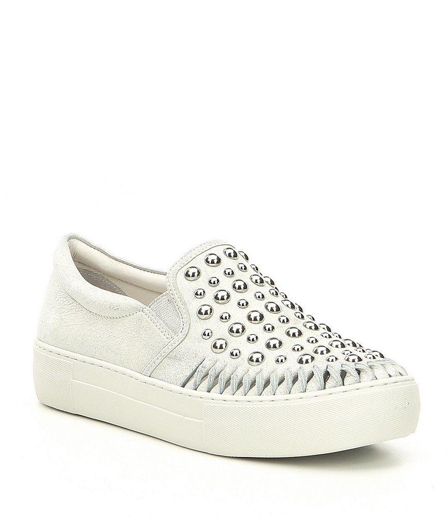 Azt Metallic Leather Studded Sneakers JIBTU
