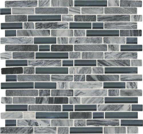 Mohawk Phase Platinum Mosaic Stone And Glass Wall Tile 5 8 Random At Menards
