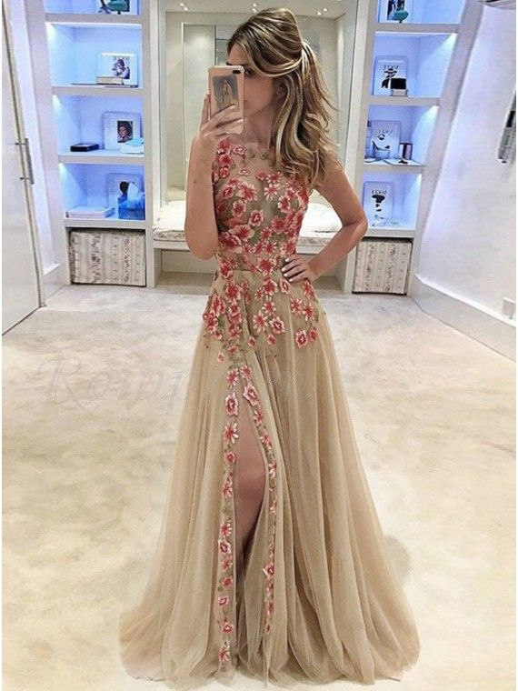 a7cbae4e7d A-Line Jewel Champagne Tulle Prom Dress with Appliques Split-Side in ...