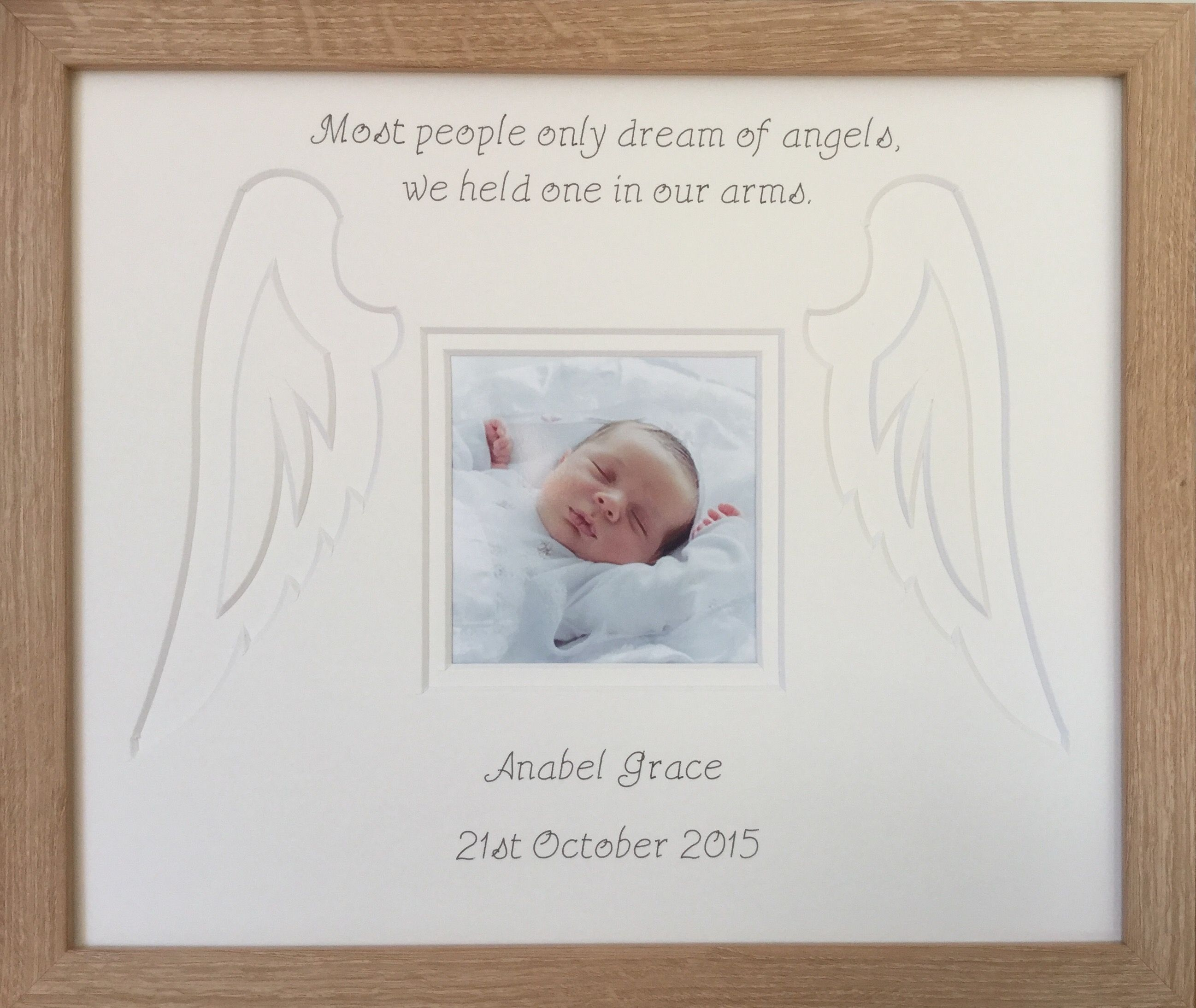 Personalise a namedate angel wings photo frame beech baby personalise a namedate angel wings photo frame beech jeuxipadfo Image collections