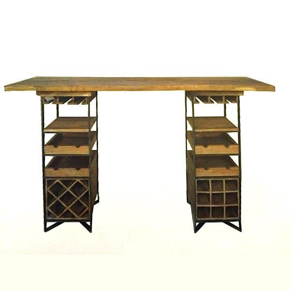 Bar vin ou table de d gustation bois massif bar et massif - Table haute rangement ...