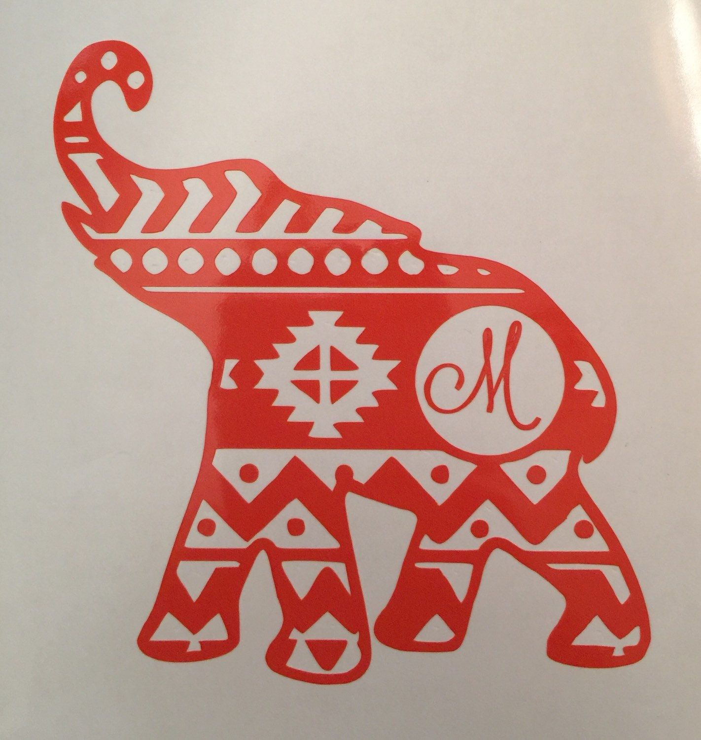 Aztec Elephant Car Decal Elephant Wall Decal Elephant Decal - Custom car decals india   how to personalize