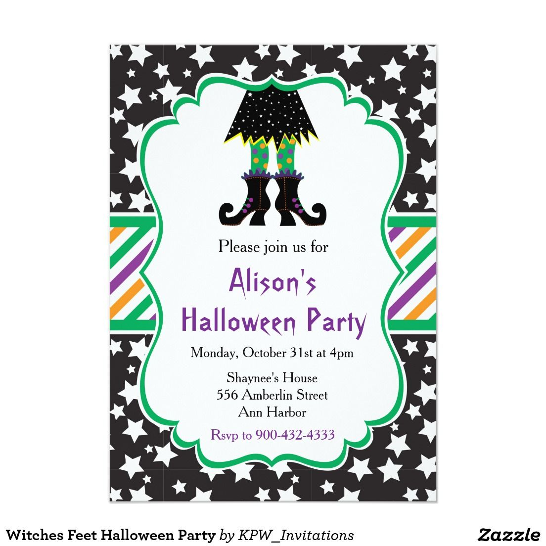 Witches Feet Halloween Party Card | Halloween Invitations | Pinterest