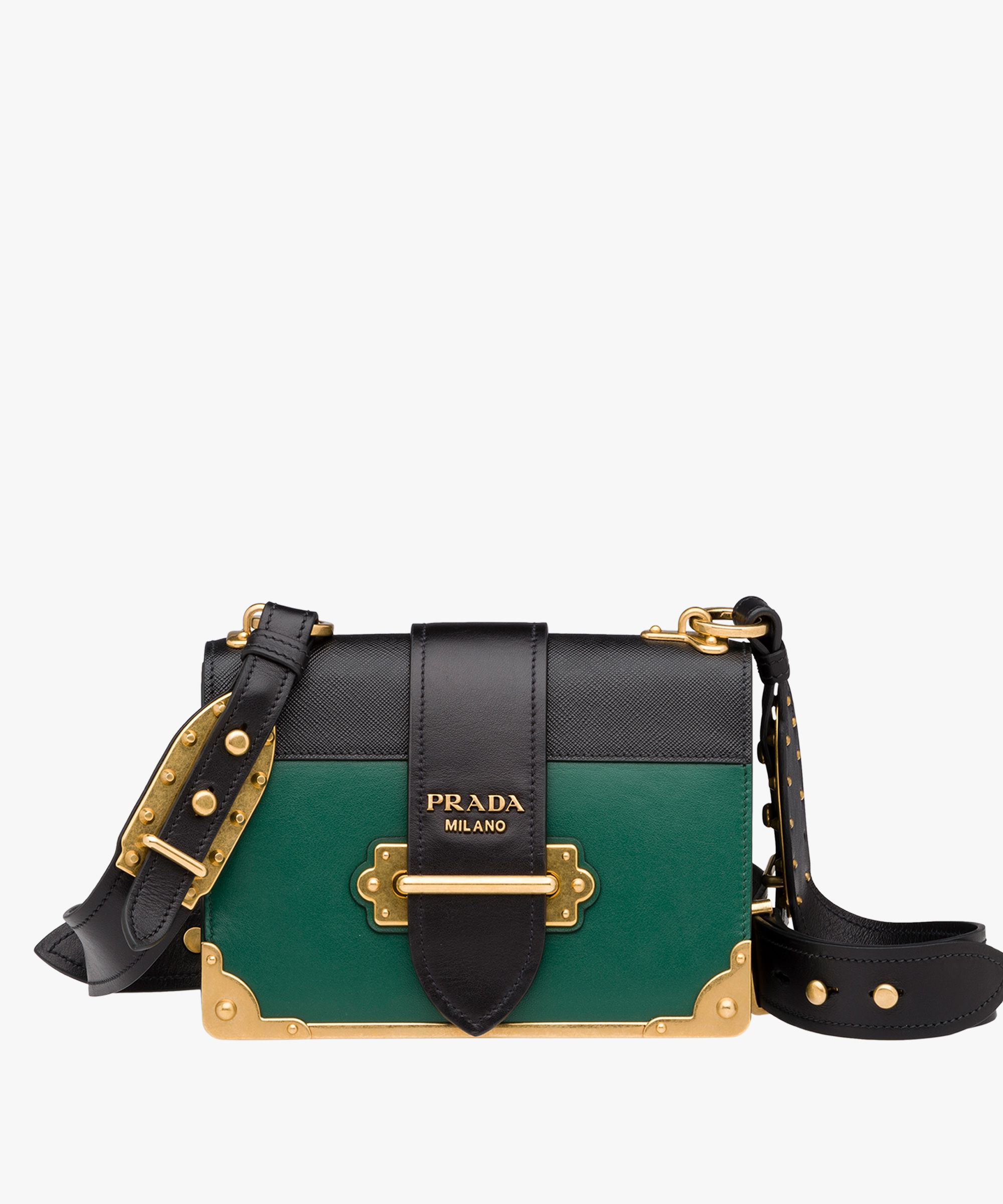 c3e6c25454b7 Prada cahier bag - Billiard green + black, or terracotta or cornflower blue