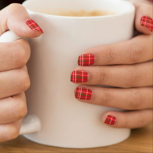 Nail Art Tutorial All I Want For Christmas Is Plaid: Christmas Plaid Nail Wraps, Nail Art Decals