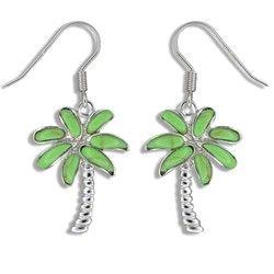 Sterling Silver Hawaiian Green Turquoise Plam Tree Earrings (L)