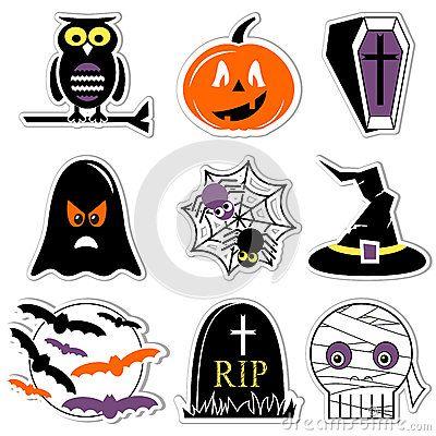 Halloween Kruis.Halloween Pictogrammen In Kleur Etikettenstijl Met Inbegrip