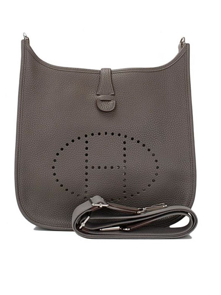 fc5b406d59d5 Hermes Evelyn Gray Taurillion GM Chic Cross-Body Shoulder Bag ...